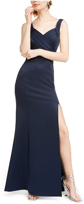Emerald Sundae Womens Navy Spaghetti Strap V Neck Maxi Sheath Evening Dress Size XXS