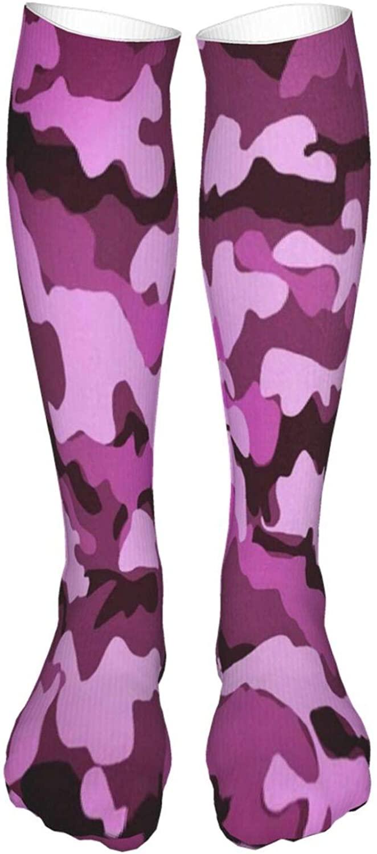 WomensThighHighSocksPurple Camouflage Beautiful KneeHighStockingsBreathableLegwarmers