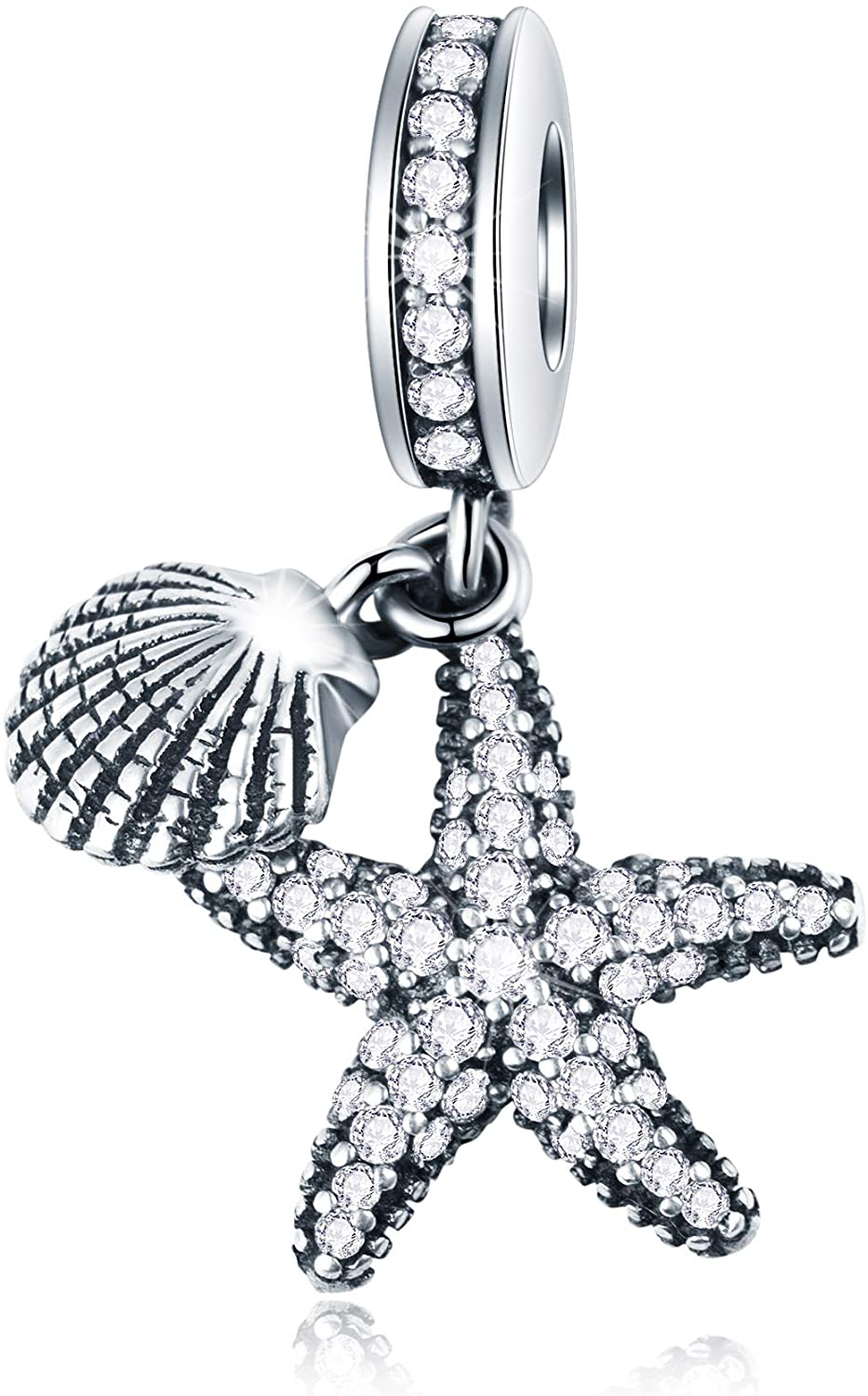 GEMDAZZ Ocean Series Charm Collection Fit European Women Bracelets - 925 Sterling Silver Starfish Shell Devil Fish Beads and Pendant, Birthday for Children/Friends/Marine Biologist