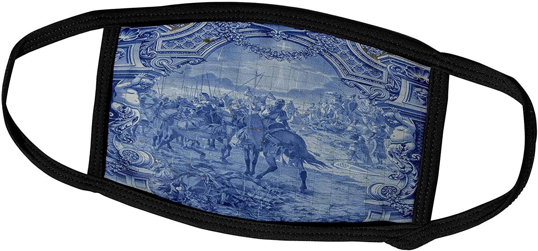 3dRose Portugal, Lisbon, azulejo, Painted Blue Tile - Face Covers (fc_227802_2)