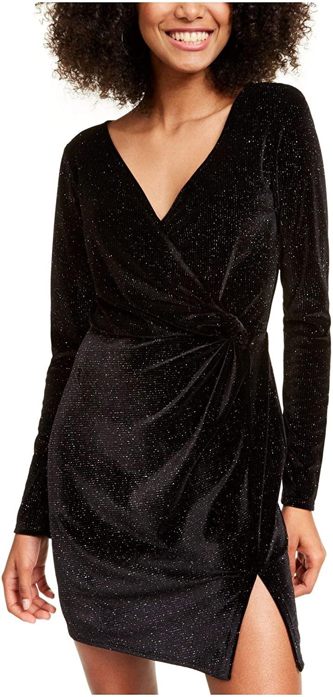Trixxi Womens Black Glitter Long Sleeve V Neck Short Sheath Party Dress Size XL