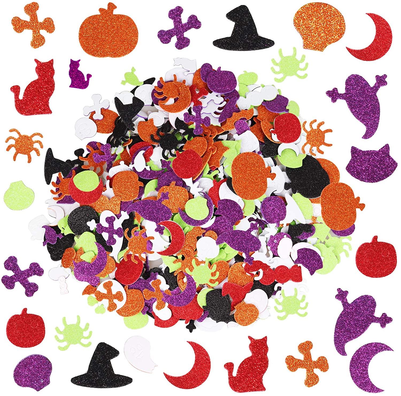 Larchio 500pcs Halloween Stickers Glitter Foam Stickers DIY Halloween Craft Stickers for Halloween Decorations Party Supplies (Halloween)
