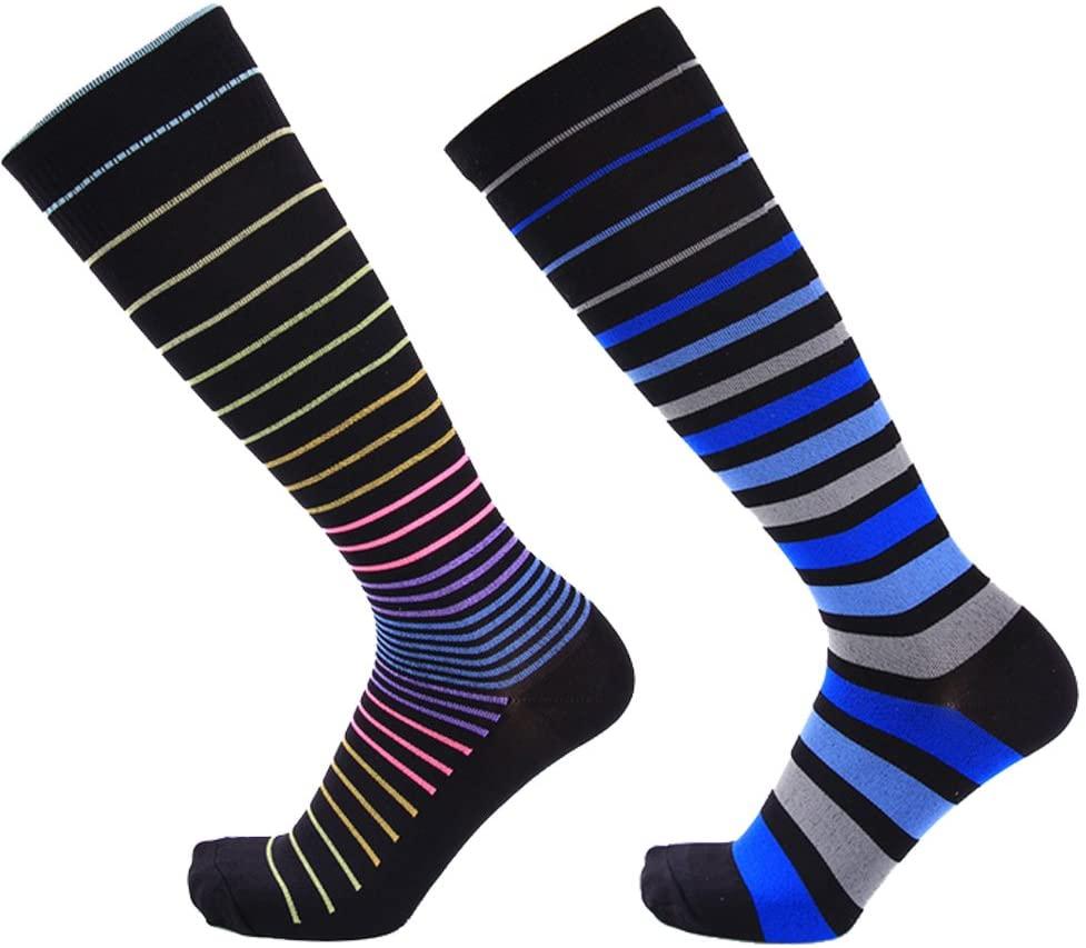Compression Socks for Men Women 20-30mmHG Graduated Stocking for Nurses,Running,Cycling,Fitness,Travel (Stripe Black, S/M)