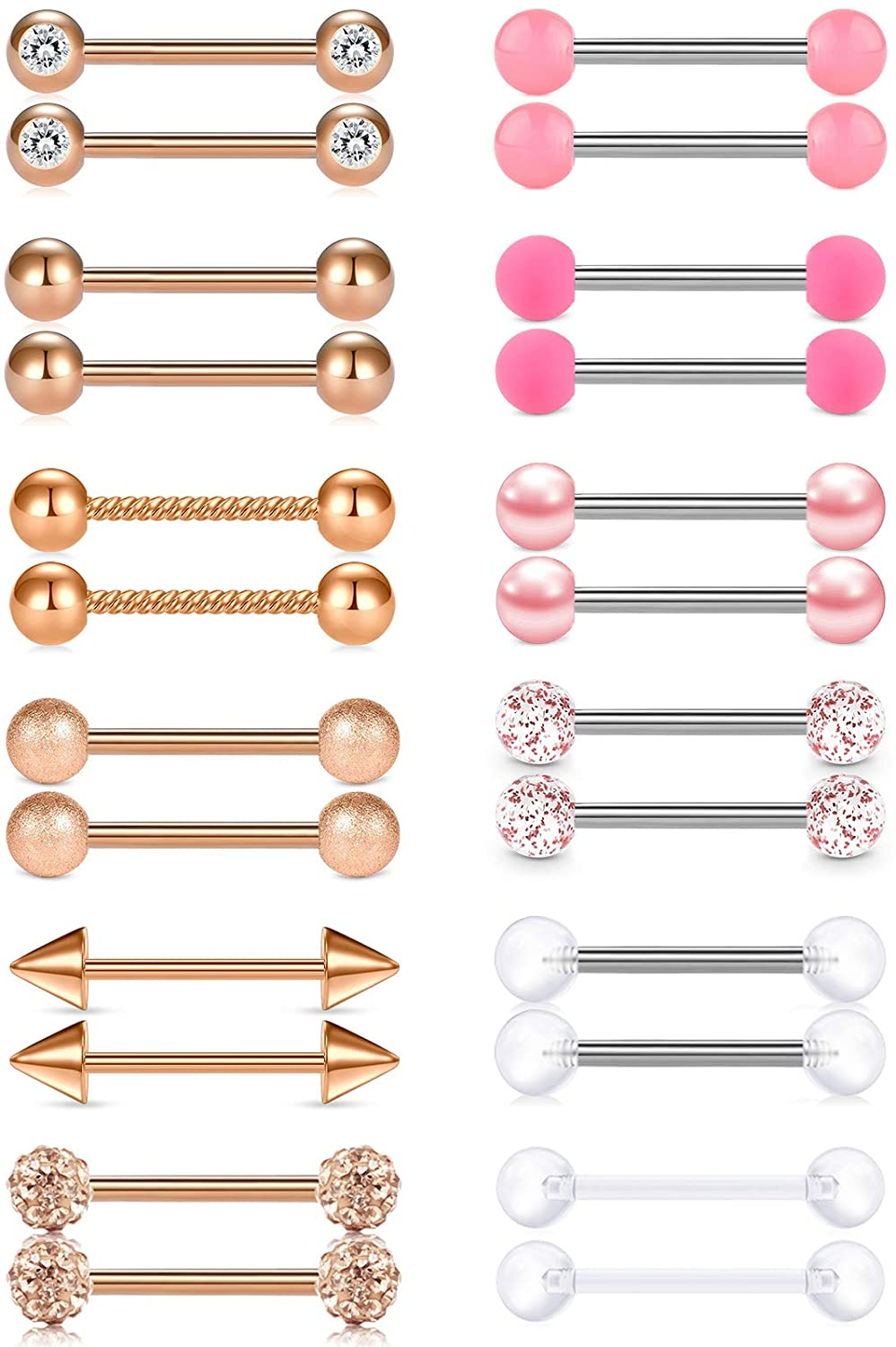 Anicina 14G Tongue Rings Stainless Steel Nipplerings Straight Nipple Tongue Piercing Barbell 16mm 18mm Nipple Tongue Piercing Bar