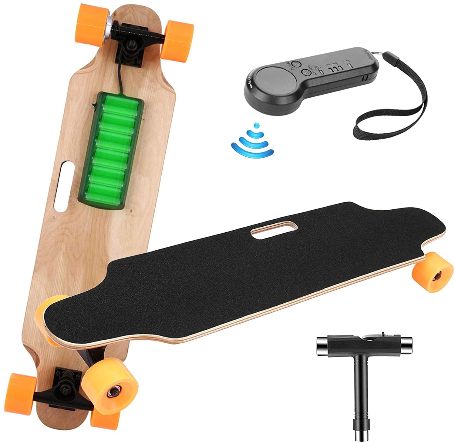 elifine Youth Electric Skateboard Electric Longboard with Wireless Remote Control 7 Layers Maple Waterproof E-Skateboard for Adult, 250W Moter, 12 MPH Top Speed, Max Load 220lbs