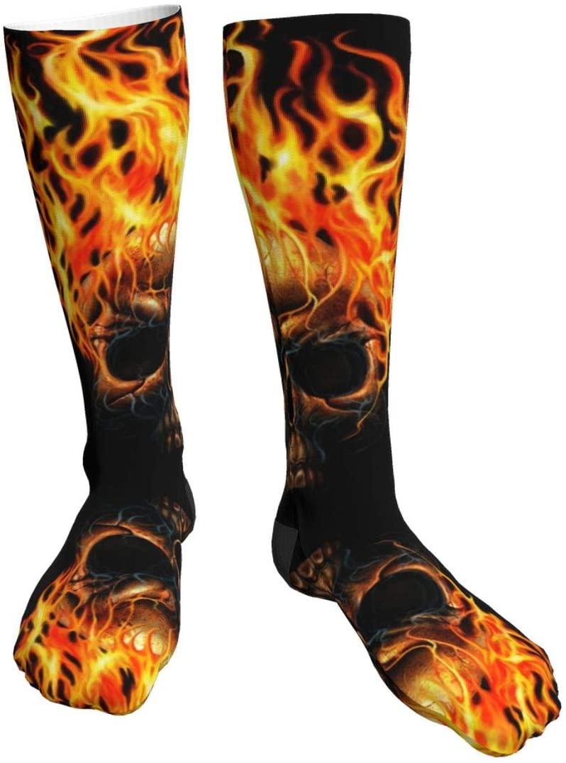 Fire Skull Knee High Graduated Compression Socks for Women and Men - Best Medical, Nursing, Travel & Flight Socks - Running & Fitness