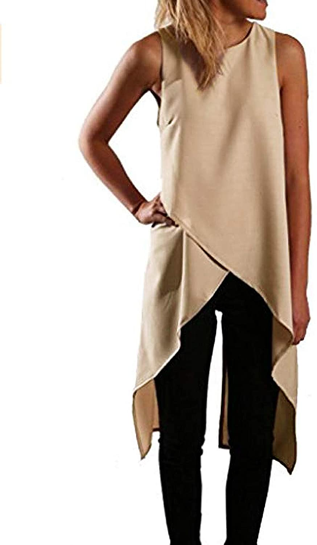 Relipop Women Chiffon Sleeveless Casual Fashion Asymmetric Dress