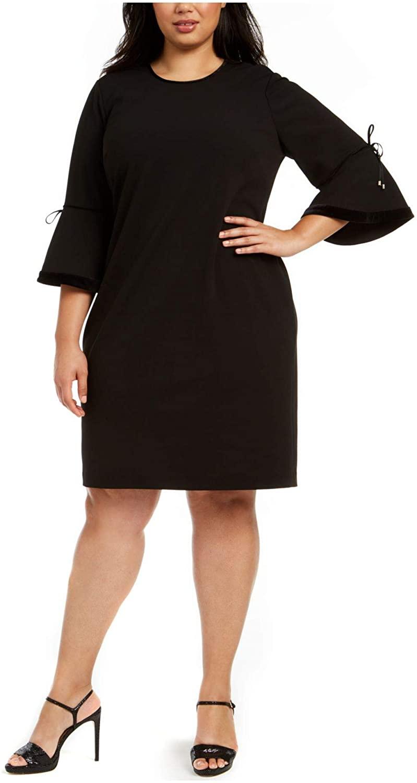 Calvin Klein Womens Black Bell Sleeve Jewel Neck Above The Knee Sheath Wear to Work Dress Size 24W