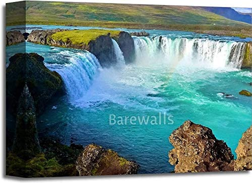 River and Wide Waterfall in Iceland Gallery Wrapped Canvas Art (11in. x 14in.)