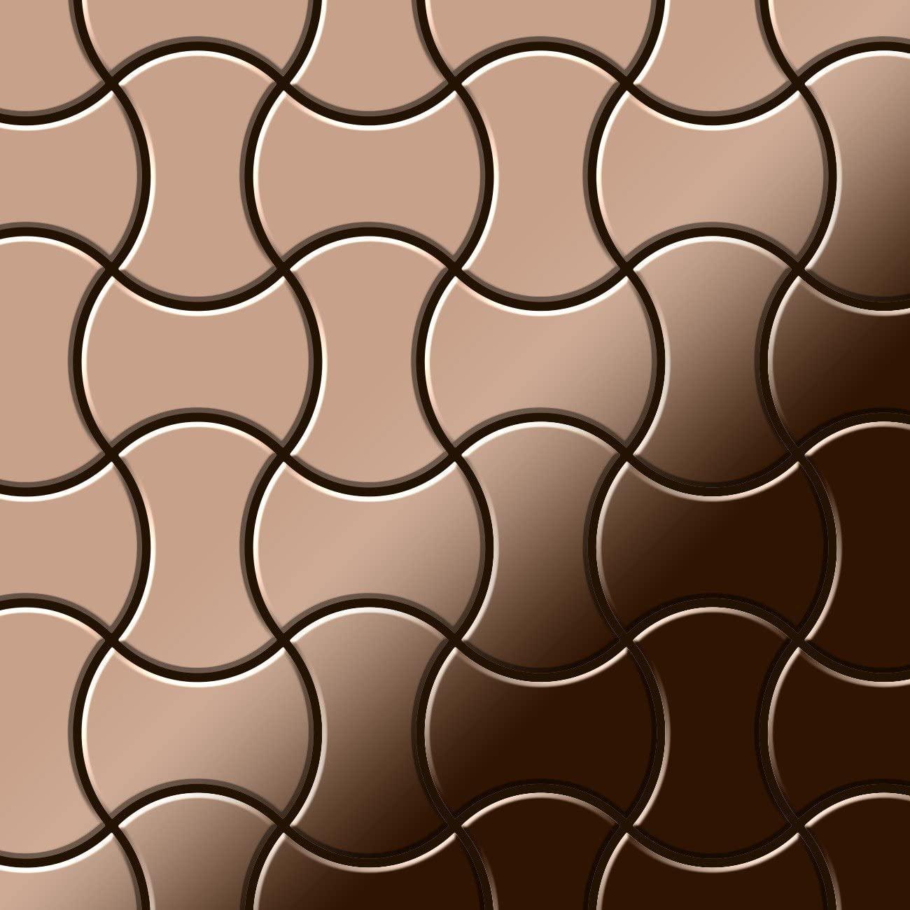 Mosaic Tile massiv Metal Titanium Amber Mirror Copper 1.6mm Thick ALLOY Infinit-Ti-AM Designed by Karim Rashid