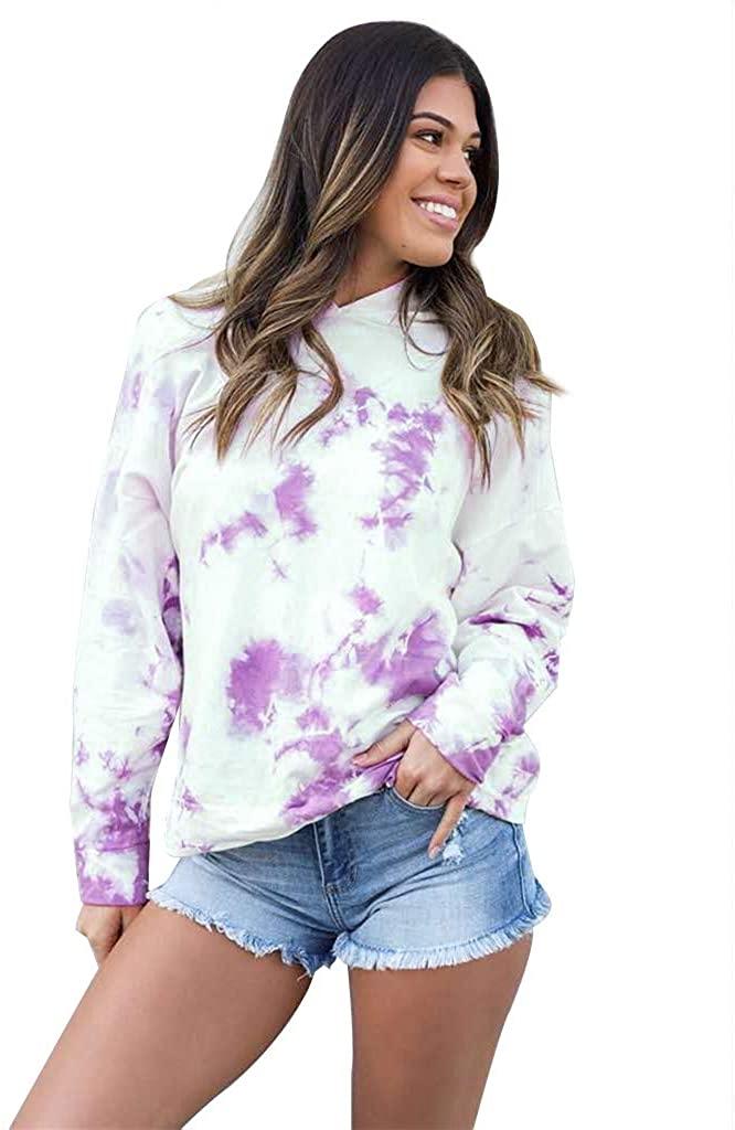 DORIC Women Fashion Tie-dye Print Sweatshirt Casual Long Sleeve O Neck Hood Pullover Top Tunic Shirts Blouse