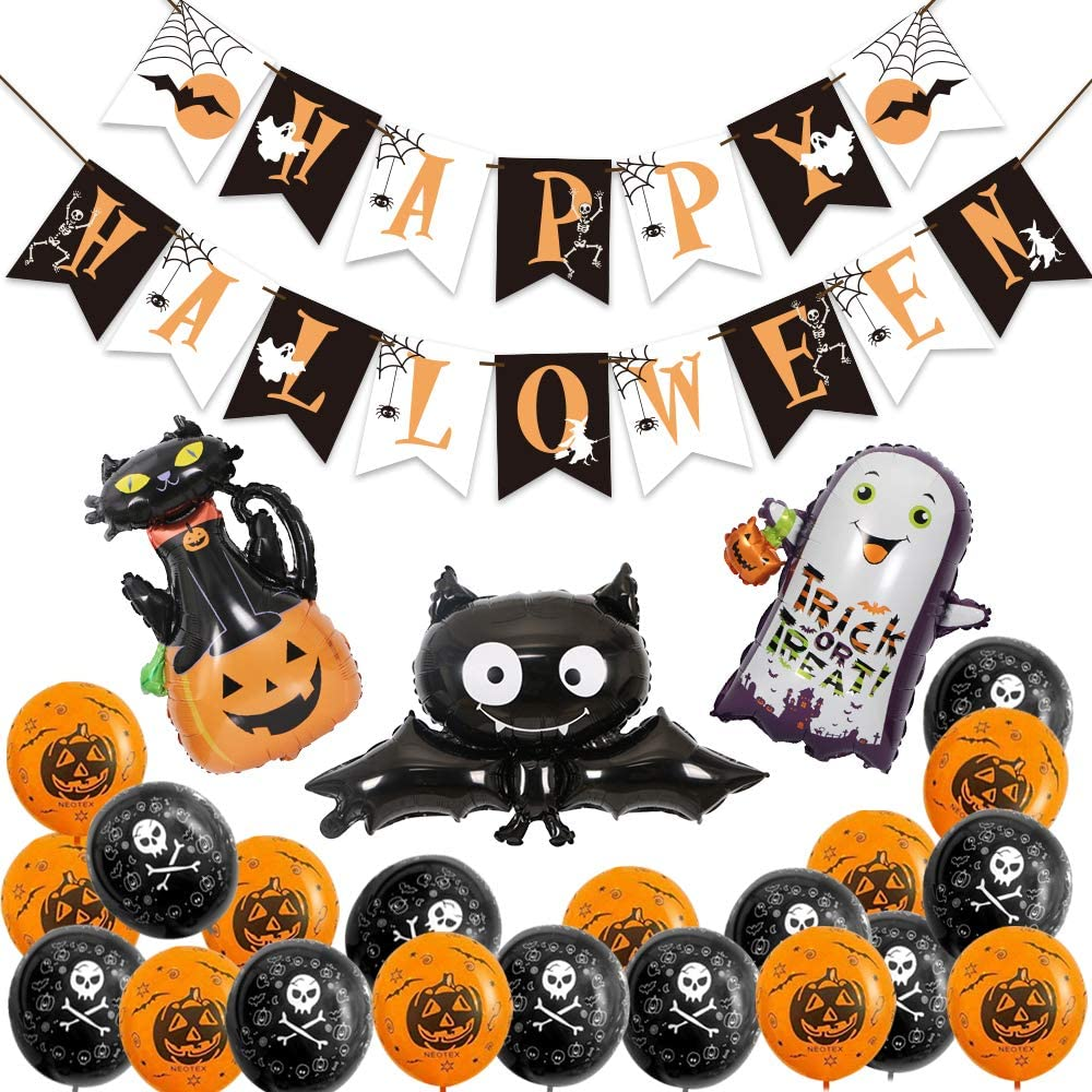 Halloween Party Decoration Kit, Happy Halloween Banner with 3 Pcs Pumpkin Cat, Bat, Ghost Foil Balloon and 20 Pcs Latex Balloon for Indoor Party Supplies
