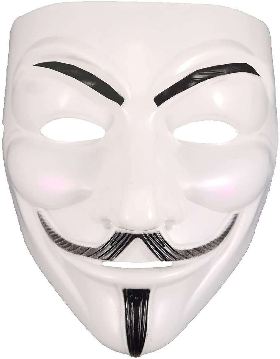 Rimi Hanger Mens V for Vendetta Masquerade Face Mask Adult Fancy Halloween Party Wear Anonymous Mask One Size