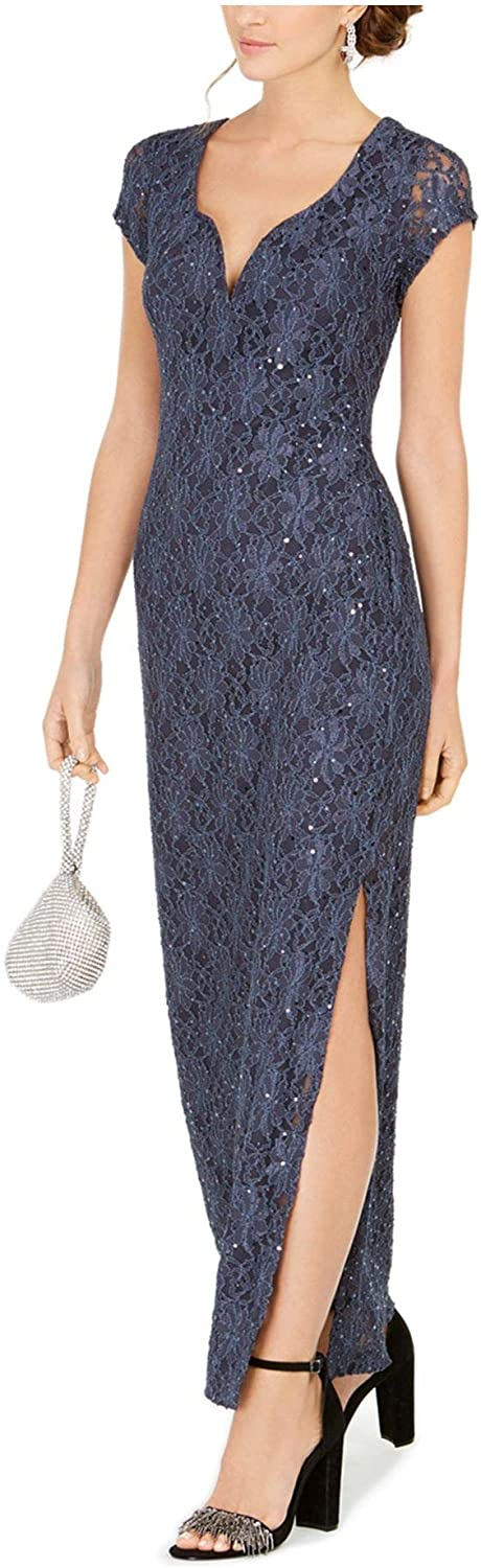 Connected Apparel Womens Gray Sequined Lace Short Sleeve V Neck Maxi Sheath Cocktail Dress Size 10