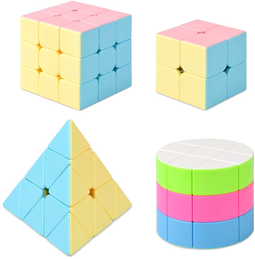 Laviesto Speed Cube Set,Pack of 4 Puzzle Cube Set(2x2,3x3,Pyramid,Cylindrical Stickerless Speed Cube),Magic Cube Puzzle Toys for Kids and Adults,Party Favor Brain Teaser