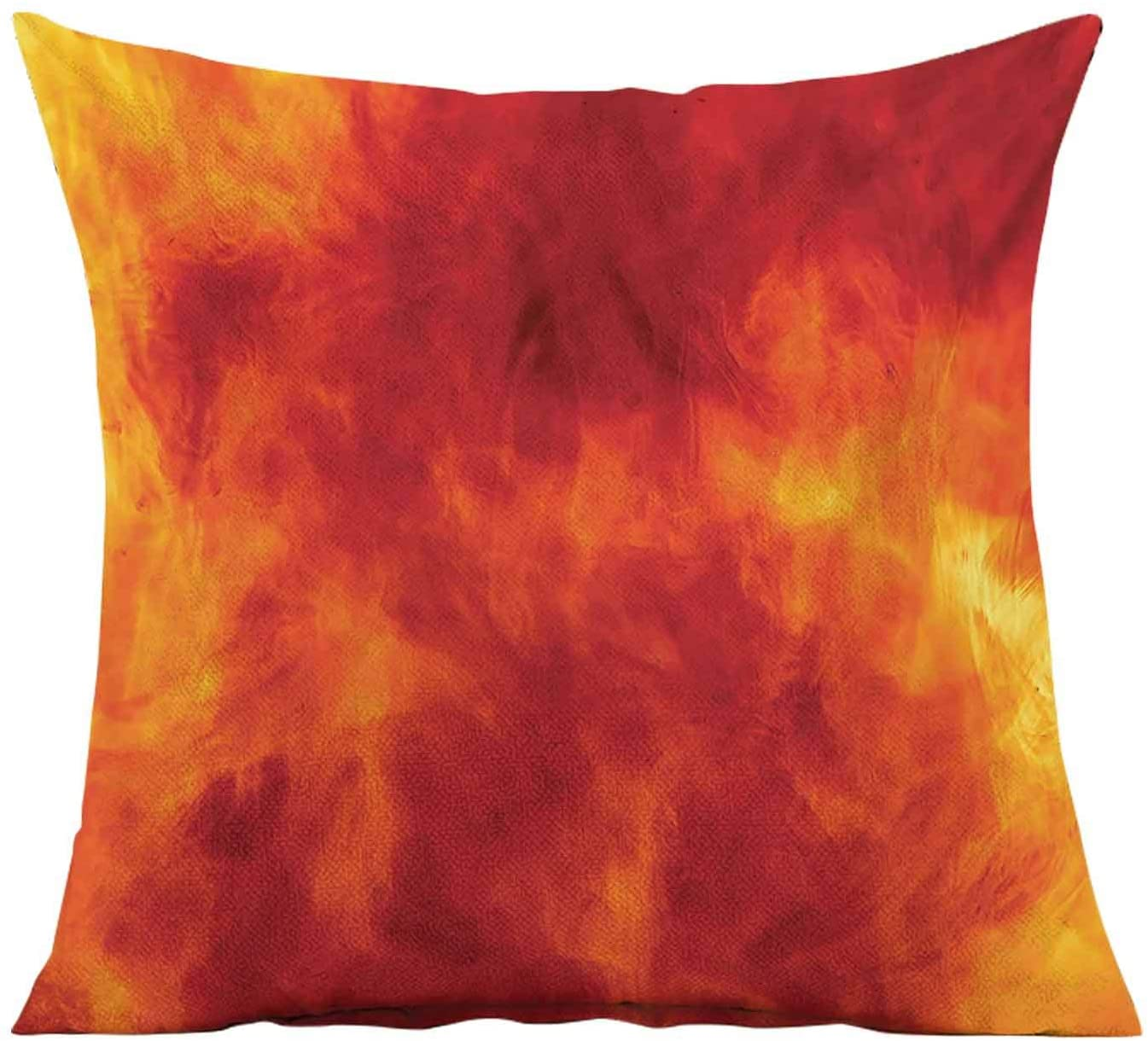 Orange Decorative Throw Pillow Cover,Graphic of Fire Vibrant Flames Illustration Heat Burning Theme Design Art Print Square Pillow Case for Patio Couch Sofa Home Car Couch,18x18 Inches,Orange Yellow