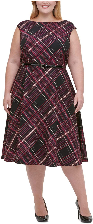 Tommy Hilfiger Womens Black Zippered Belt Plaid Sleeveless Jewel Neck Below The Knee Fit + Flare Dress Size 14W