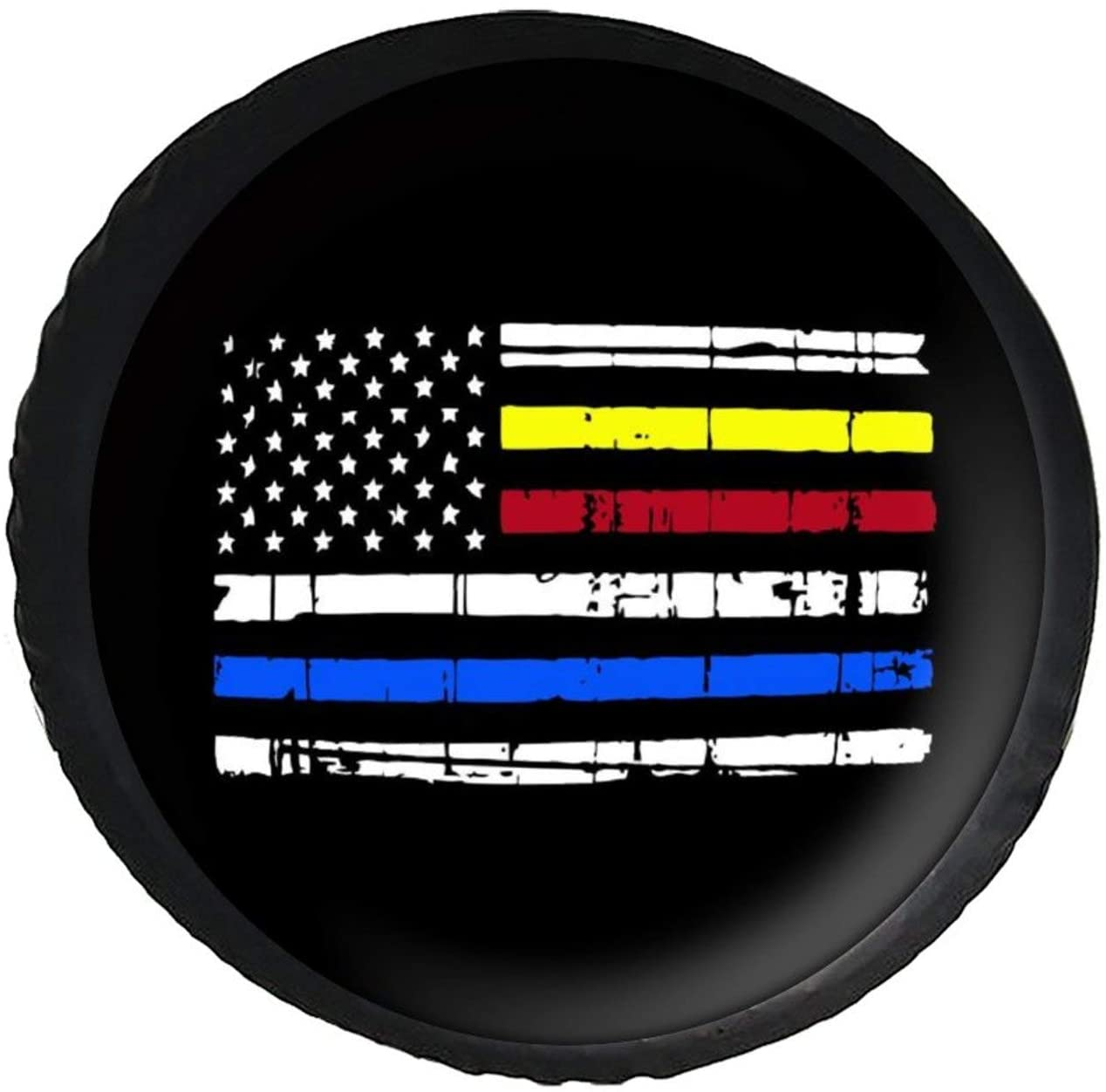 Spare Tire Cover Distressed Dispatch, Police, Fire Department Universal Leather Spare Wheel Cover American Flag Thin Lines Sunproof Tire Covers for Je_ep Trailer RV SUV Truck Camper Travel and Many Ve