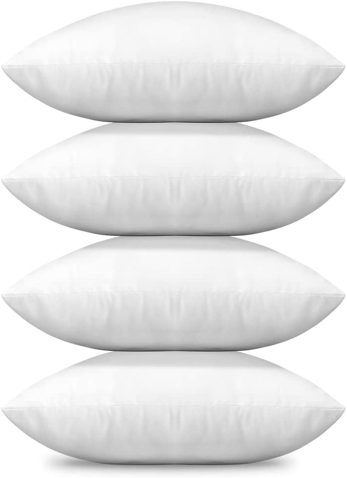 OTOSTAR 18x18 Throw Pillows Inserts, Set of 4 Hypoallergenic Square Form Cushion Stuffer for Couch, Sofa, Bed - Indoor Decorative Pillows Inserts (White, Pillows Inserts 18x18)