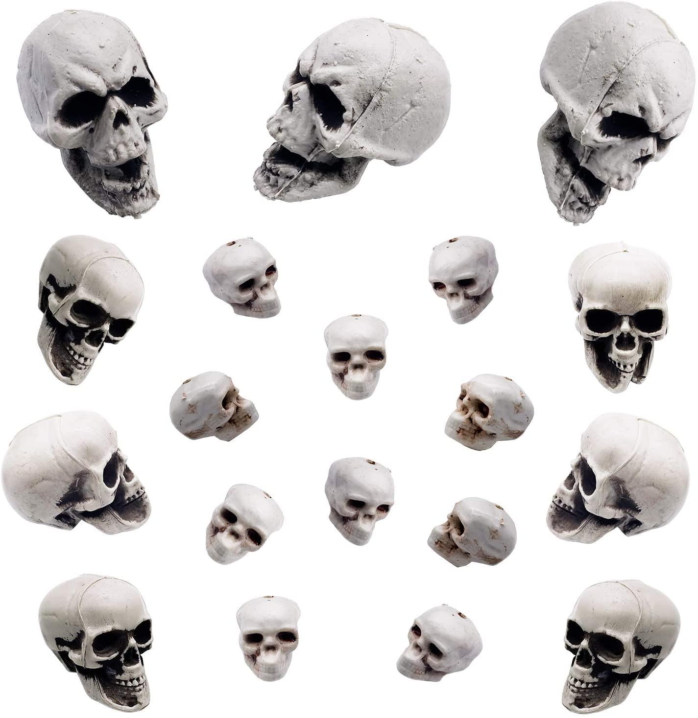 Alpurple 19 PCS Halloween Realistic Fake Simulation Human Skull- Mini Plastic Skeletons Head Skull for Halloween Bar Home Table Decoration