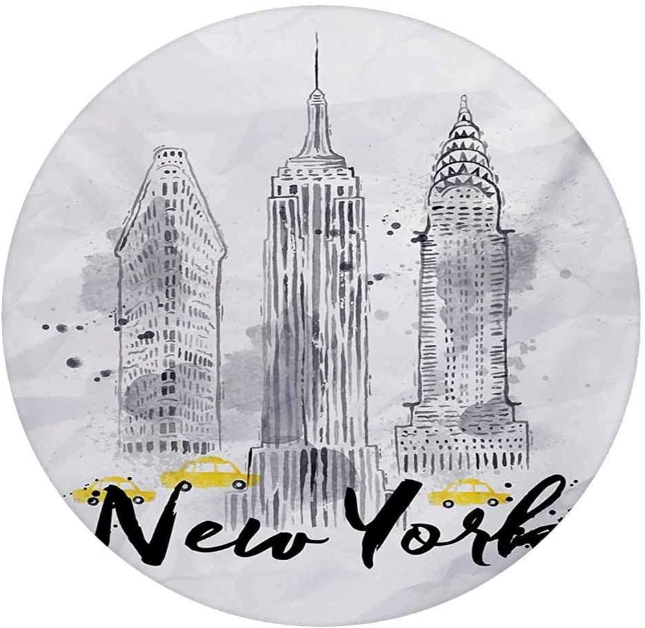 LCGGDB Watercolor 3D Decorative Window Clings,Skyscrapers Empire State Building Old Wonders of American Architecture Sketch Static Cling Window Decal for Home Office,Round 6