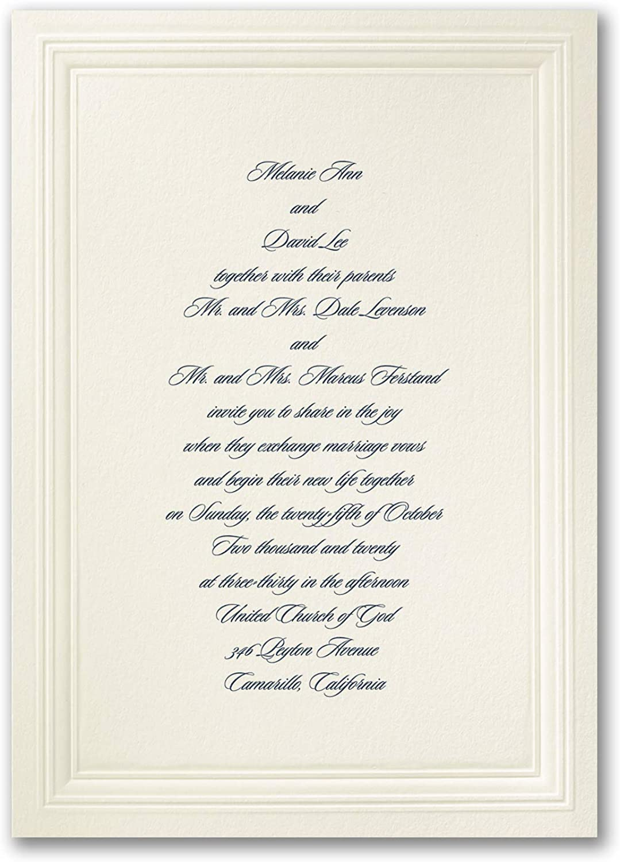 350pk Ecru Embossed Triple Borders - Invitation-Wedding Invitations