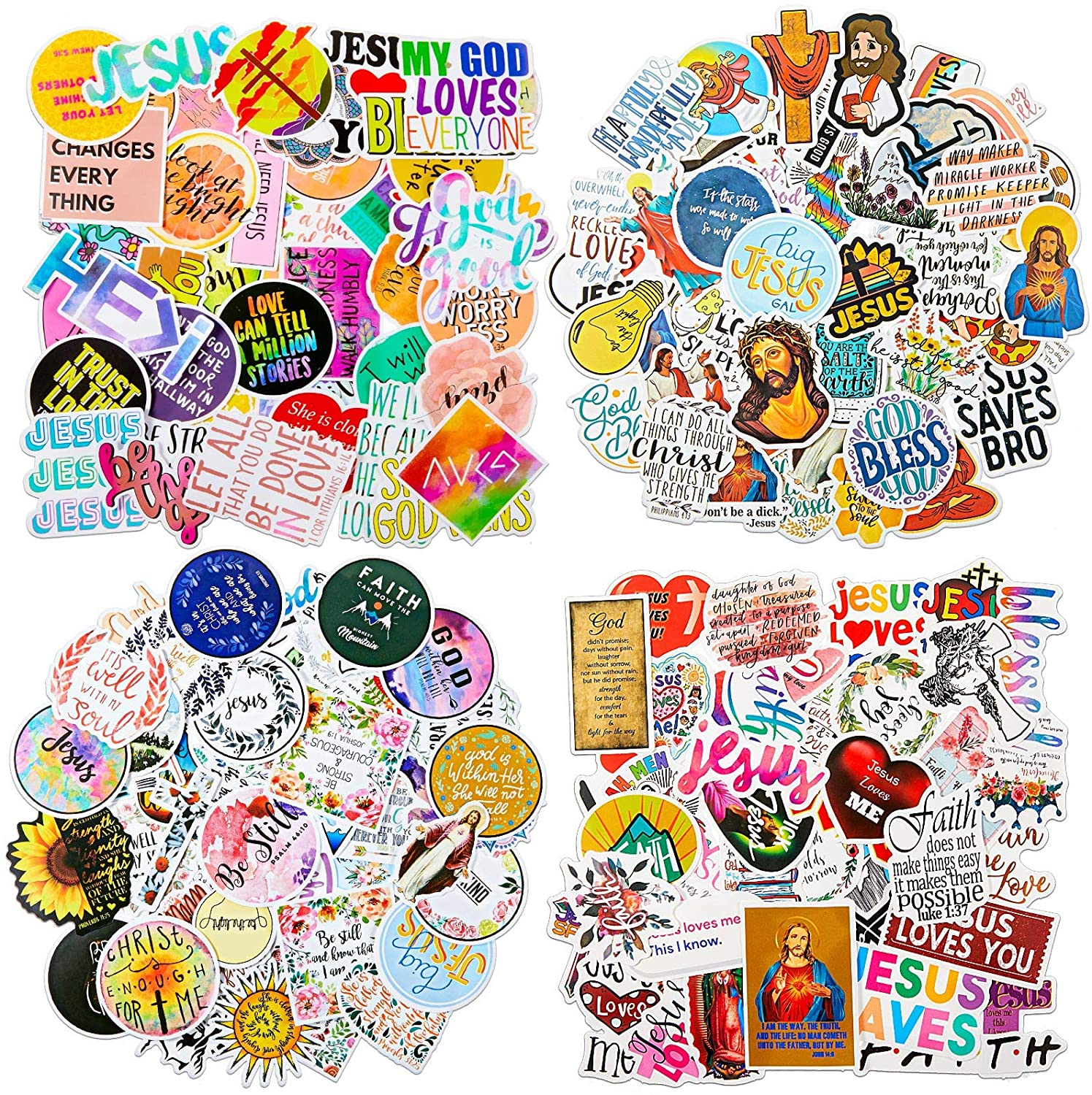 200 Pieces Jesus Christian Stickers Mixed Religious Bible Stickers Waterproof Inspirational Vinyl Laptop Stickers Wisdom Words Decals for Luggage Skateboard Bottle, 4 Styles