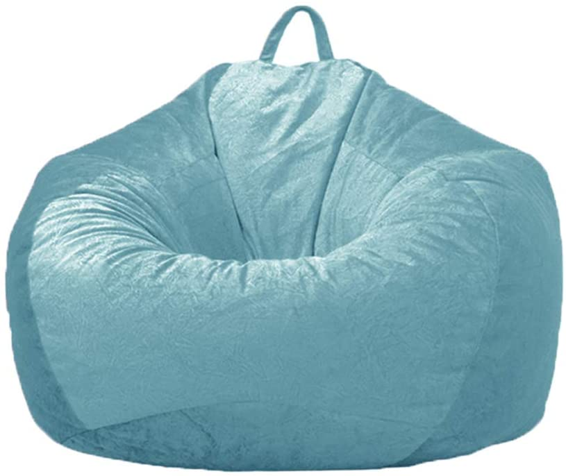 """WAQIA 39"""" × 47"""" inch XL Stuffed Animal Storage Bean Bag Cover (No Filler), Soft Microsuede Bean Bag Chair Cover, Plush Toy Organizer for Kids and Adults (Light Blue)"""