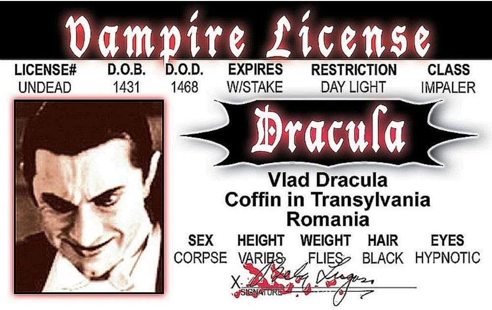 Signs 4 Fun Numidv Dracula's Driver's License