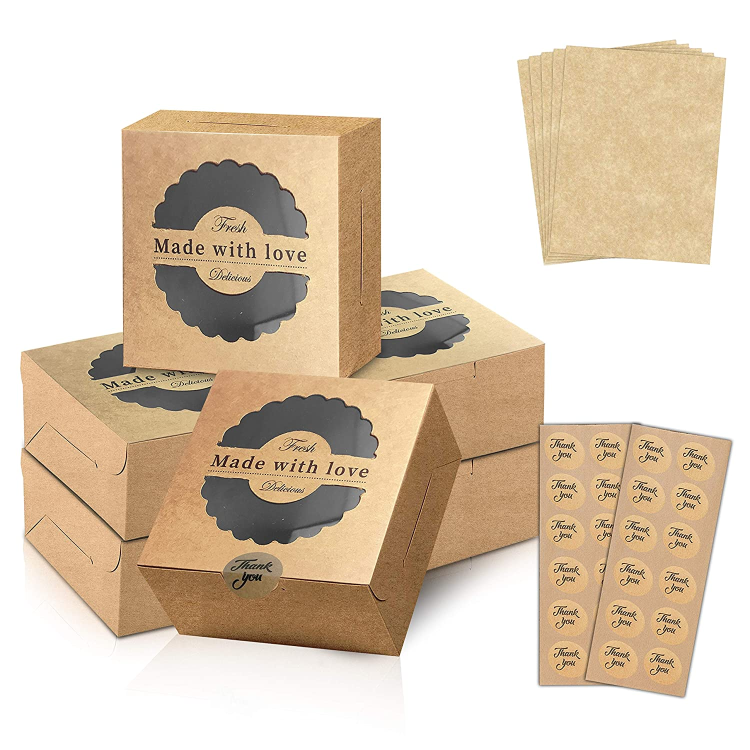 Bakery Boxes – Kraft Boxes with Window – Dessert Boxes with Parchment Paper and Stickers – Small Box for Cakes, Cupcakes and Cookies – Versatile and Convenient Packaging – 4 x 4 x 3-inch