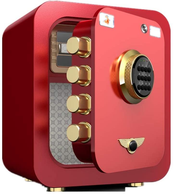 Teerwere Safe Box Safe Box Home Fingerprint Password Office Security Small Fingerprint Safe Bedside Table Safe Box with Key (Color : Pink, Size : 45x34x40.5cm)