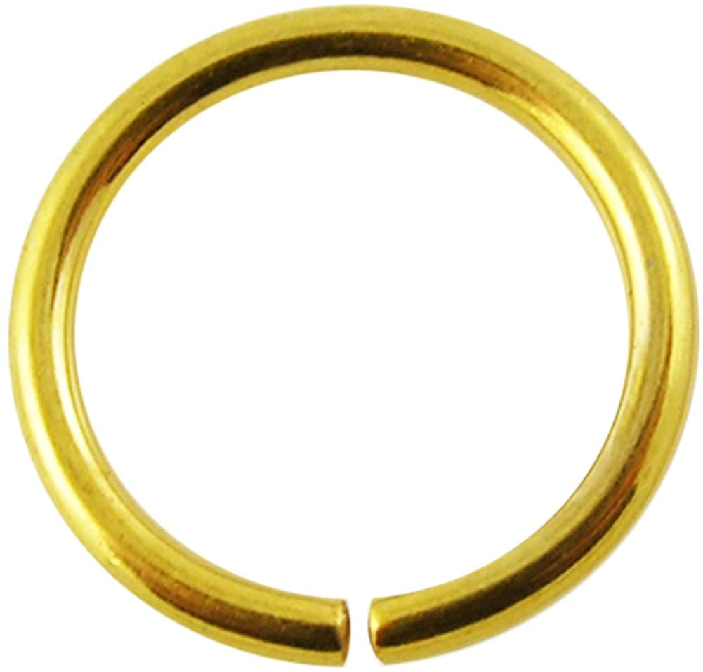Gold Anodized 16 Gauge (1.2MM) 316L Surgical Steel Open Hoop Nose Rings Body Jewelry