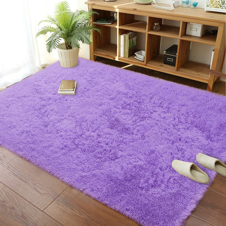 Soft Modern Indoor Shaggy Area Rug for Bedroom Livingroom Dorm Kids Room Home Decorative, Non-Slip Plush Fluffy Furry Fur Rugs Comfy Nursery Accent Floor Carpet 3x5 Feet, Purple