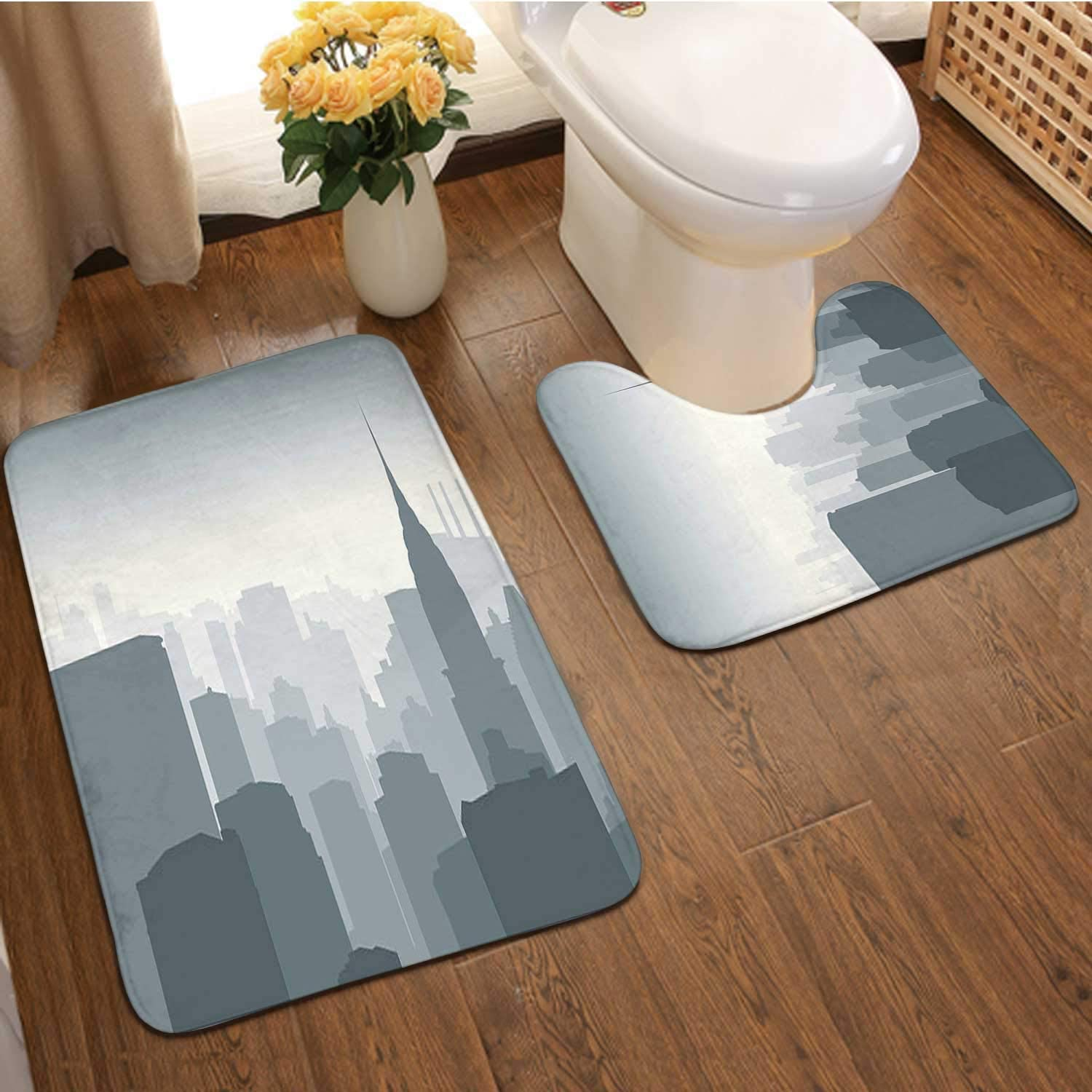 Vector Illustration - View from Empire State Building - New ork Cit,Bathroom Rugs Bath Mat Set,Non-Skid Shower Rug +Toilet Mat Rooftop