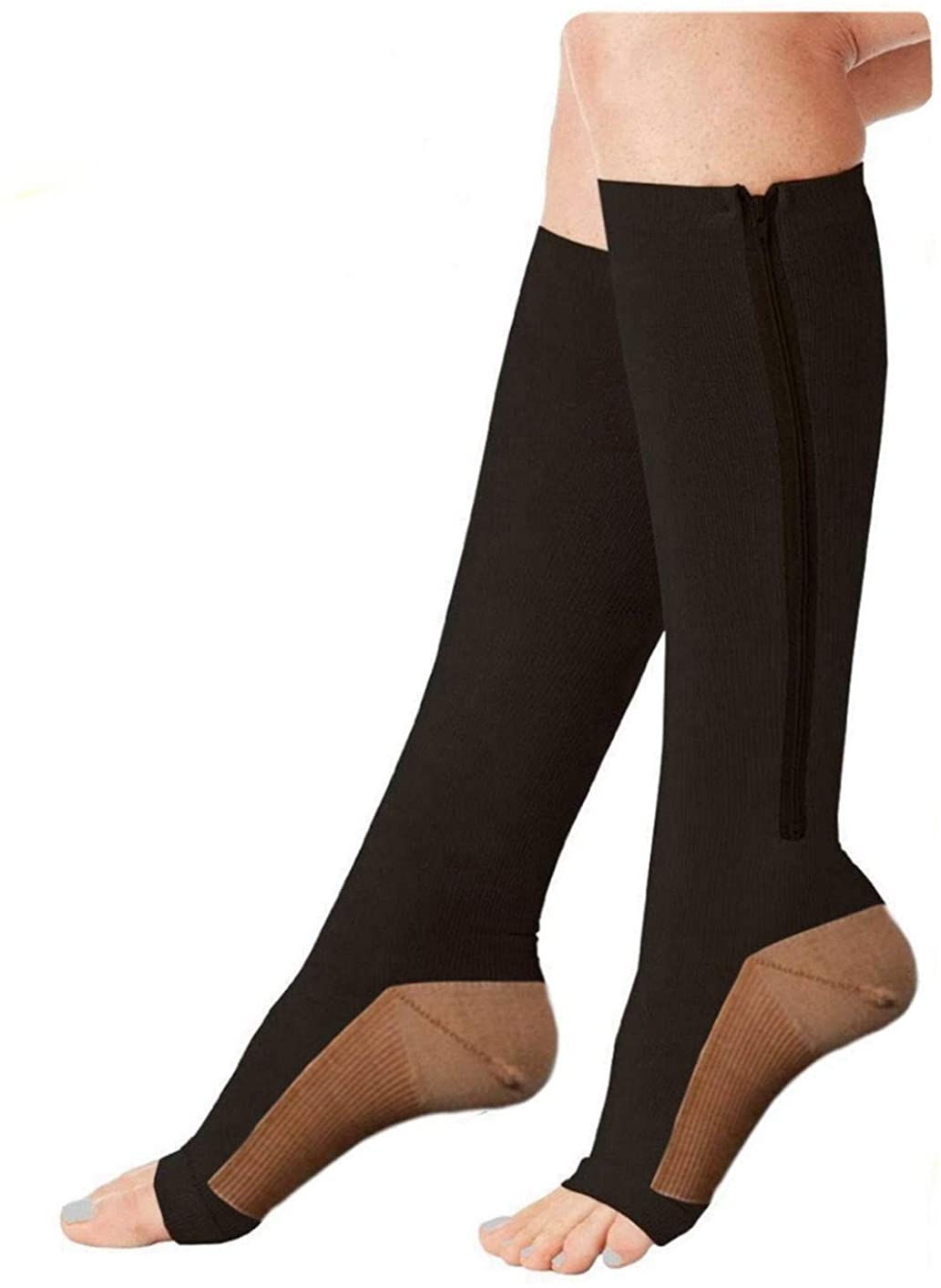 TASOM Zip Compression Socks (1 Pair) Sports Medical Recovery Support Open Toe Zipper Zippered Stockings
