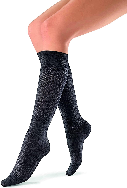 JOBST soSoft, Knee High Compression Socks, Ribbed, 20-30 mmHg, Black, XL