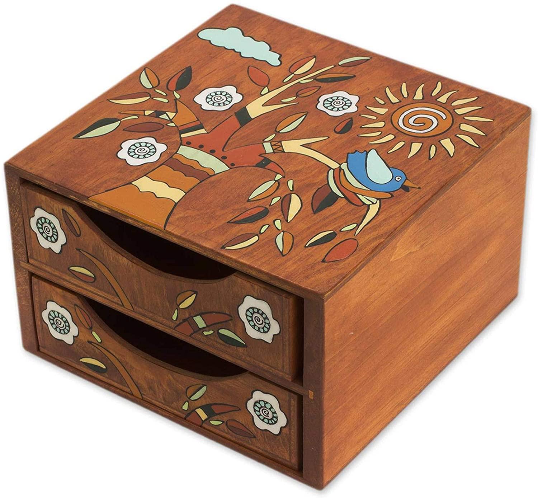 NOVICA Multicolor Wood Bird Jewelry Box, Lively Tree