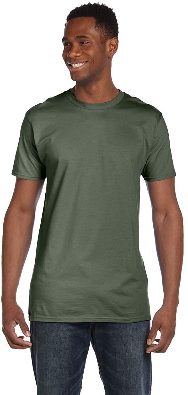 Hanes Mens 45 oz, 100% Ringspun Cotton nano-T T-Shirt - FATIGUE GREEN - M - (Style # 4980 - Original Label)