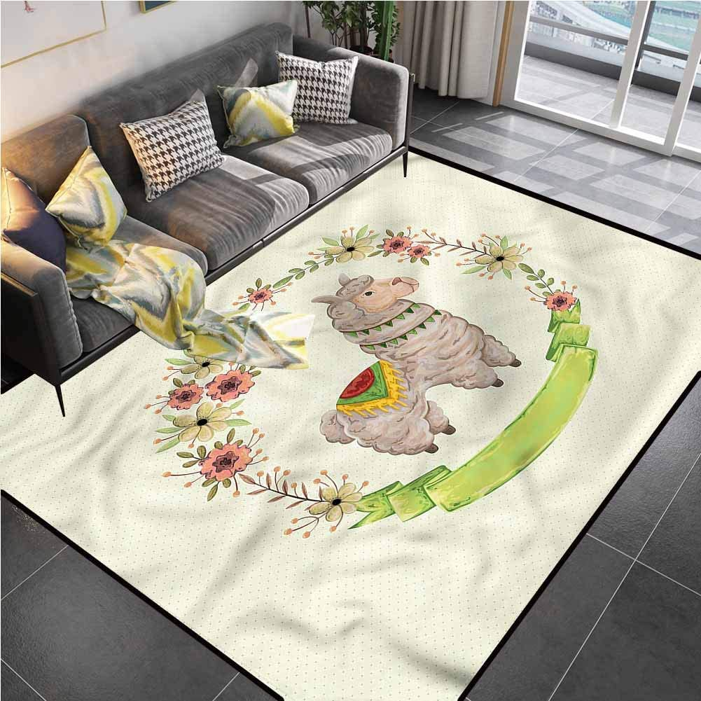 Area Rug Rugs Print Large Floor Mat Llama,Colorful Watercolor Flora Rugs for Kids Yoga Living Room Home Decor Rugs 5'7