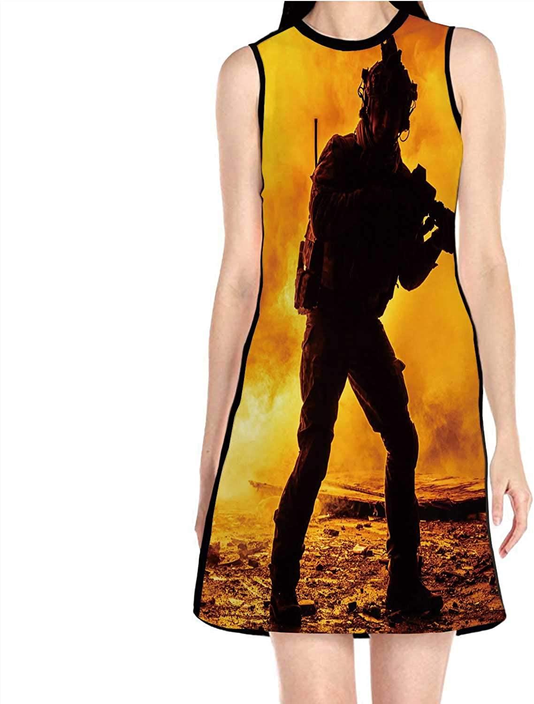 Deer at Sunset,Women's Sleeveless Dress Swing Dress S