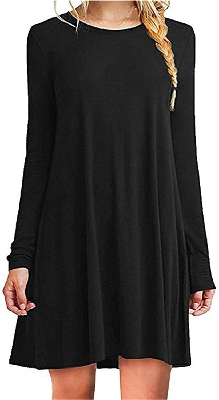 Soluo Women's Casual Plain Fit Flowy Simple Swing T-Shirt Loose Tunic Dress (Black,XX-Large)