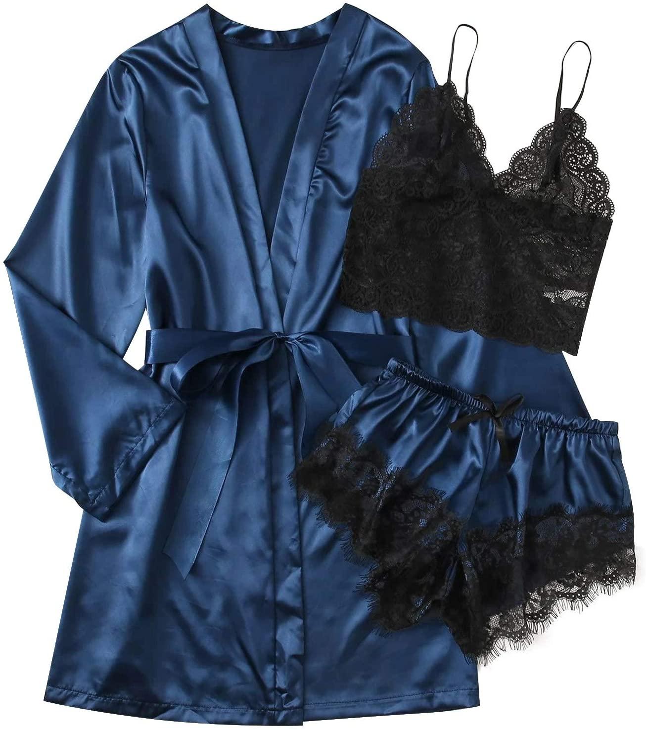 Nywaba Women's Sexy Pajamas Lingerie Lace Sleepwear Chemise Satin Slip Silk Nightie, Women Nightdress Lingerie Robes Underwear Sleepwear Sexy