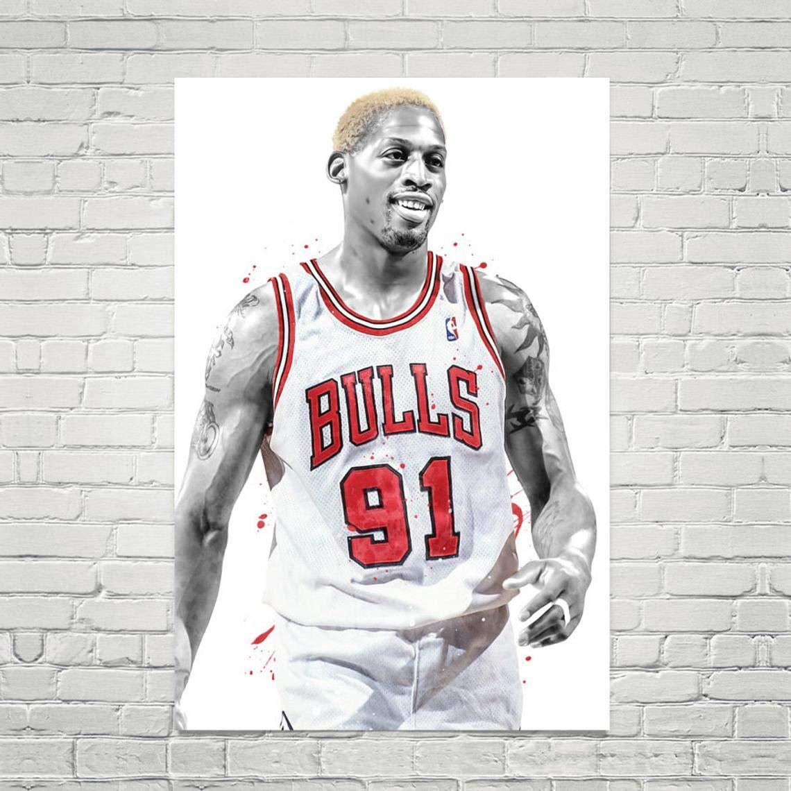 Dennis Rodman Art Print, Dennis Rodman Poster, Chicago Bulls Poster, Basketball Wall Art, Basketball Decor, NBA Poster, Watercolor Print, Man Cave Decor, Sport Posters