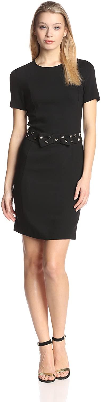 LOVE Moschino Women's Short Sleeve Sheath Dress with Studded Belt