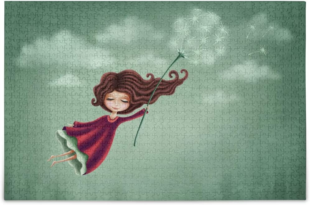 Little Fairy Girl with Dandelion Flower Flying in Sky Jigsaw Puzzles 1000 Pieces Wooden Intellectual Game for Women Adults
