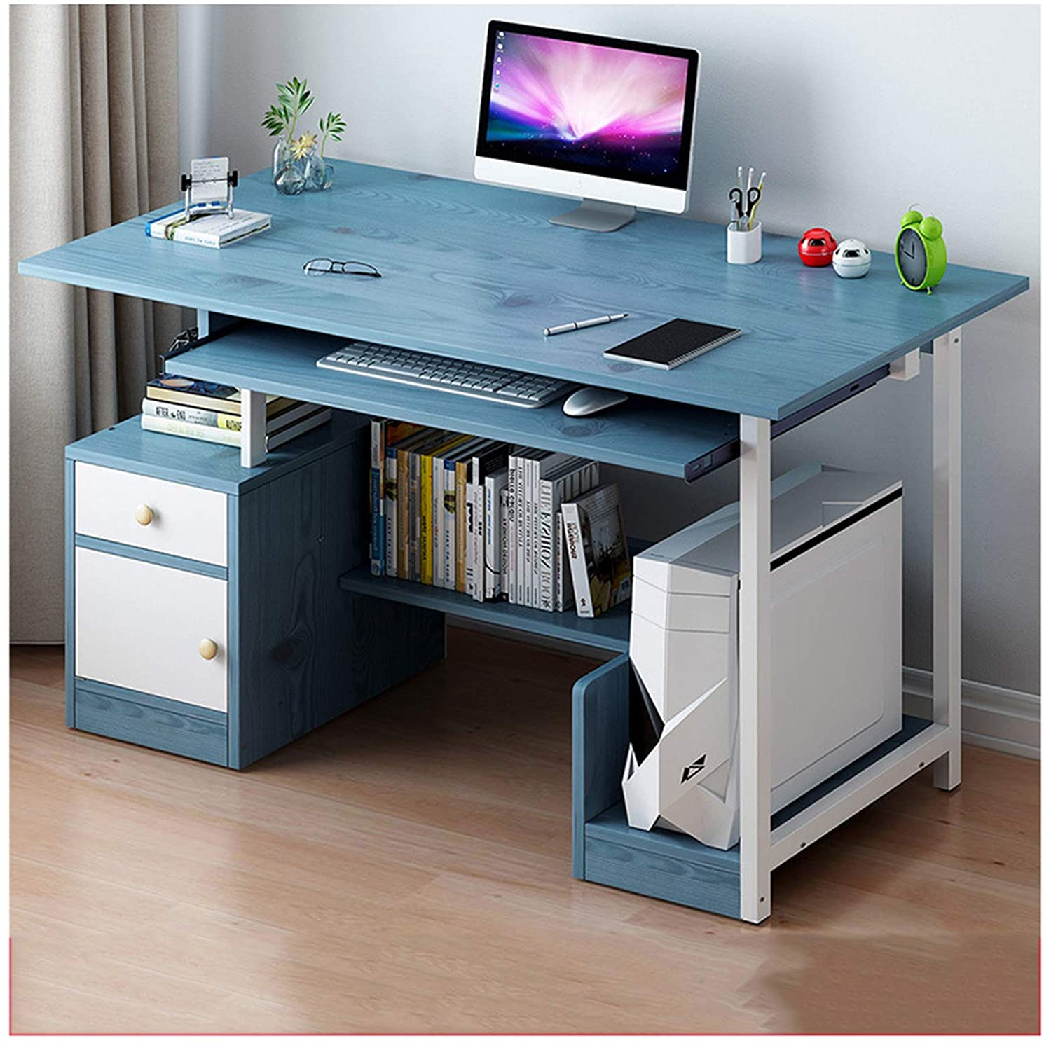 Desk Small Spaces Computer Home Bedroom Gaming with Storage Simple Style Multiple Storage with Keyboard Compartment Main Frame,Blue,904072