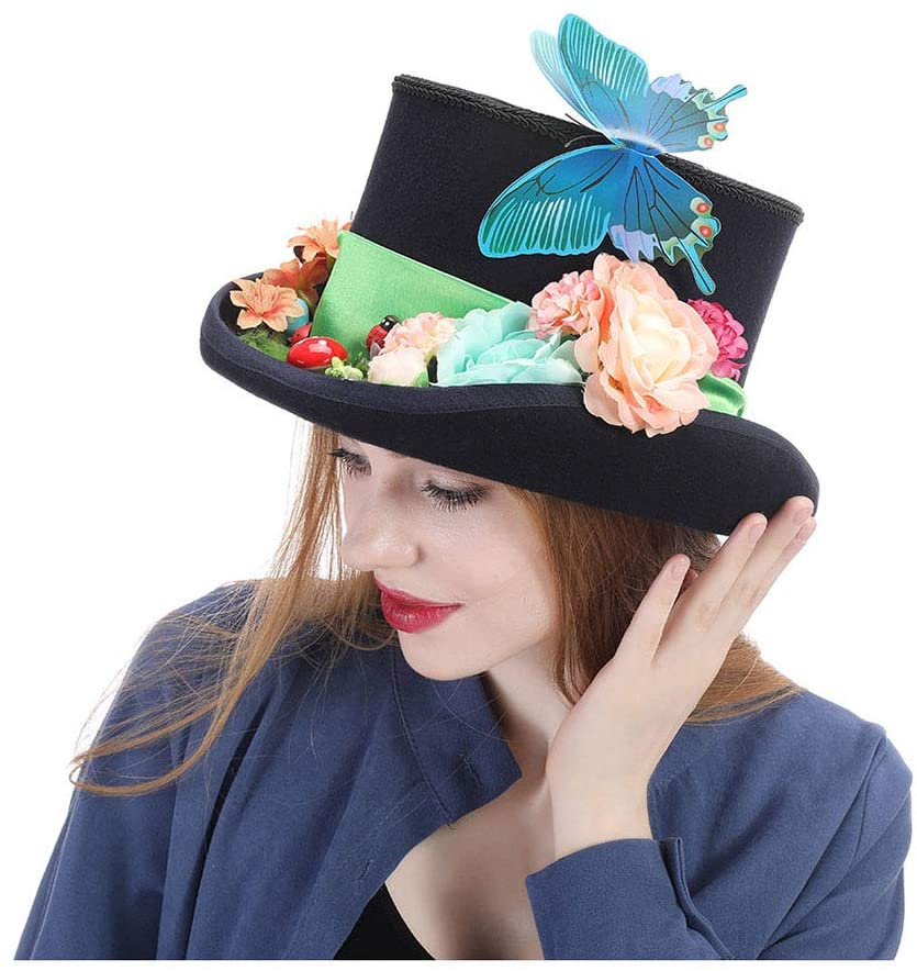 QINMEI Steampunk hat Vintage Wool Feathered Green Top Hat with Goggles (Color : Black, Size : 57CM)