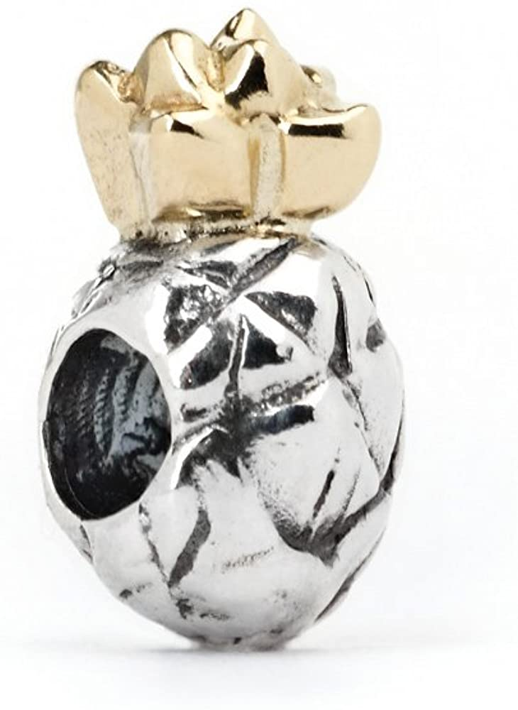 Novobeads Authentic Silver & 14K Gold 3307 Pineapple, Silver with 14K Gold