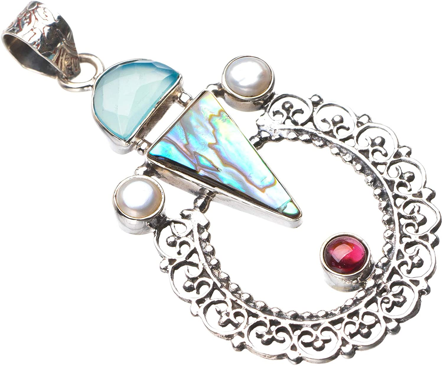StarGems Natural Abalone Shell,Chalcedony,River Pearl And Amethyst Handmade 925 Sterling Silver Pendant 2.25
