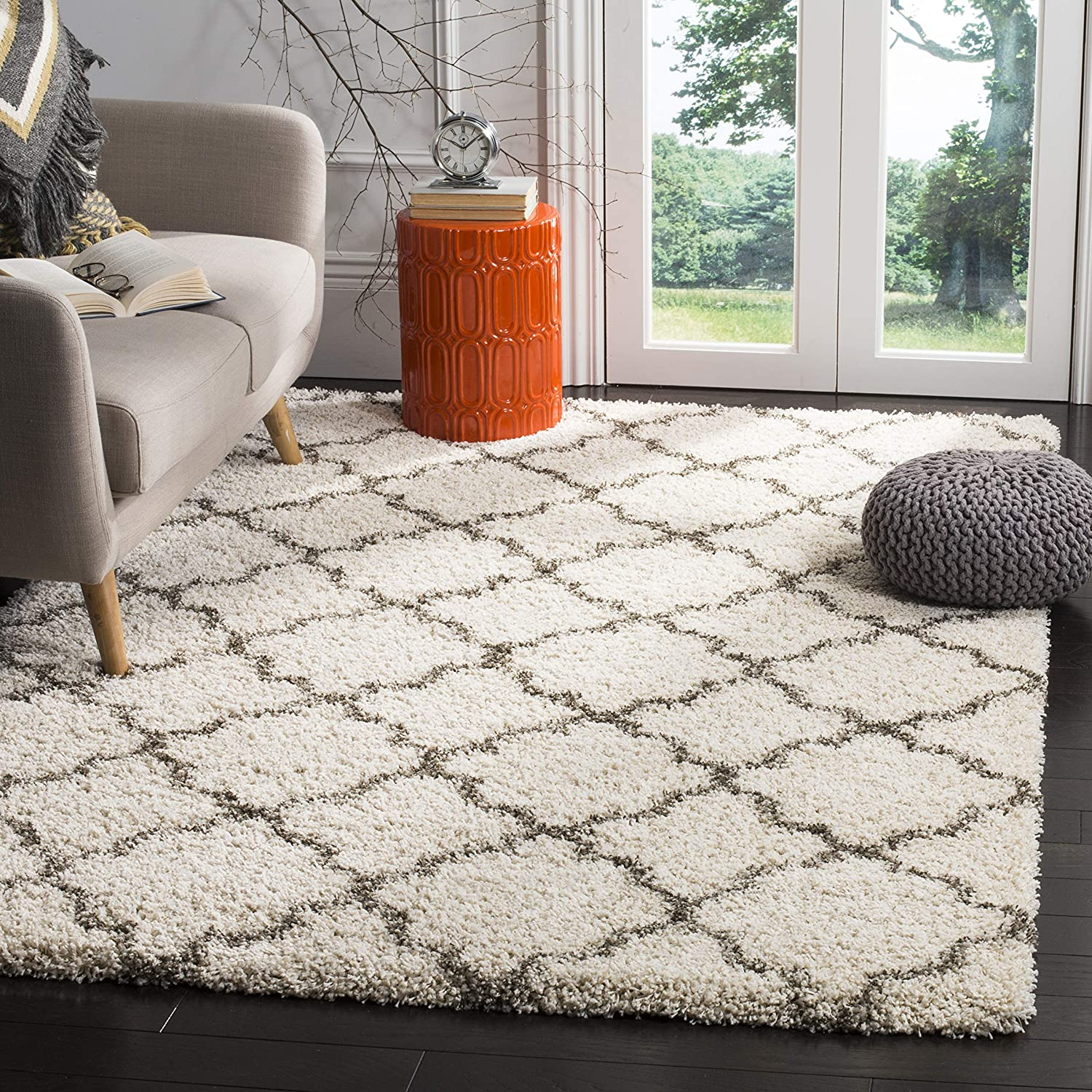 Safavieh Hudson Shag Collection SGH282A Moroccan Trellis 2-inch Thick Area Rug, 9' x 12', Ivory/Grey